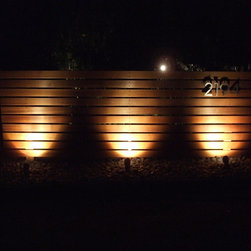 Horizontal Wood Fence - Clear Cedar Fence, 3 Feet tall by 10 feet wide. Numbers from modernhousenumbers.com