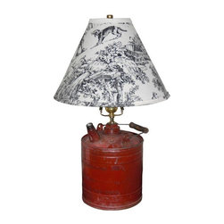 "Used Vintage Gas Can Table Lamp and Shade - With all the nicks and knocks over the years, the patina on this Gas Can lamp is a story in itself! It features a beautiful black and white French country farm toile style shade with gold foil lining to reflect light.    Add some rustic charm to your design!    Gas can depth 6.5""  Gas can height 9.5"
