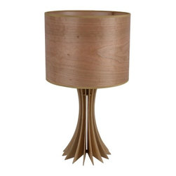 ParrotUncle - Brown Solid Wood Drum Shade Designer Table Lamp - Brown Solid Wood Drum Shade Designer Table Lamp