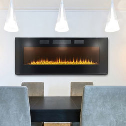 Napoleon - Napoleon 50-in Slimline Wall Mount Electric Fireplace- EFL50H - The Napoleon 50-in Slimline Wall Mount Electric Fireplace commands attention with its stunning contemporary design and sleek lines. Watch as the realistic flames appear to dance from the glass ember bed. You'll be mesmerized by the gentle reflection of the flames from the hundreds of little glass pieces. This unit also features 2 flame color options. Choose from a warm orange or cool blue - both create a truly stunning lighting display. With a front facing heat vent, this unit can either be recessed or surface wall mounted, depending on your desired look.