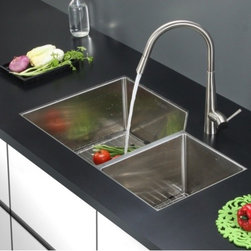 Ruvati - Ruvati RVC2353 Stainless Steel Kitchen Sink and Stainless Steel Faucet Set - Ruvati sink and faucet combos are designed with you in mind. We have packaged one of our premium 16 gauge stainless steel sinks with one of our luxury faucets to give you the perfect combination of form and function.