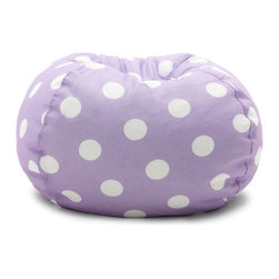 Comfort Research - Comfort Research Classic Bean Bag - Comfort Purple with White Dots - The Classic Bean Bag has been everyone's favorite chair for over 40 years! Made with soft, durable fabric. Filled with UltimaX Beans that conform to you. Double-stitched and double zippers for added strength and safety. Spot clean.