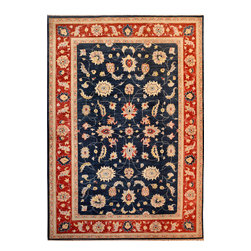 """ALRUG - Handmade Navy Blue Oriental Oushak Rug 6' 2"""" x 8' 11"""" (ft) - This Afghan Oushak design rug is hand-knotted with Ghazni Handspun Wool on Cotton."""
