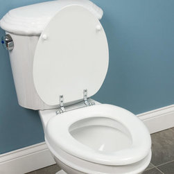 Regal Wooden Toilet Seat - White - The Regal Toilet Seat features chrome hardware and sealed molded wood construction to ensure durability.Compatible with round or elongated toilets.