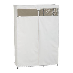 Work Closet with Dust Cover - Commercial-style chromed steel rack with five shelves and hanging bar organizes office supplies or home storage, closets and dorm rooms. Customized fabric cover with viewing window and zipper closure protects contents from dust.