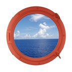 Handcrafted Nautical Decor - Orange Porthole Window 24'' - This Orange Porthole Window 24'' adds sophistication, style, and         charm for those looking to enhance rooms with a nautical theme. This         boat porthole has a sturdy, heavy and authentic appearance, yet  it  is       made of wood and fiberglass to lower the weight for use as    nautical    wall   decor. This porthole window makes a fabulous style    statement  in   any   room with its classic round frame, five solid    rivets and two  dog    ears  surround the perimeter of the porthole    frame.--NOTE: This is a decorative porthole window (the     center is clear glass and not an ocean scene). However, any image (such     as the ocean scene pictured) can easily be put in the center of the     porthole for either our porthole windows or mirrors.--Dimensions: 24'' L x 2'W x 24'H----    Functional porthole window holds clear glass which can be removed at any time--    Handcrafted and hand-painted an orange finish by our master artisans--    Realistic nautical decor - modeled after an antique 19th-century ship's porthole--    --    Great porthole wall decor and an instant conversation piece--