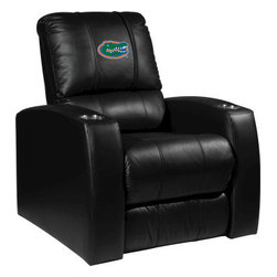 Dreamseat Inc. - University of Florida NCAA Gators Home Theater Leather Recliner - Check out this Awesome Leather Recliner. Quite simply, it's one of the coolest things we've ever seen. This is unbelievably comfortable - once you're in it, you won't want to get up. Features a zip-in-zip-out logo panel embroidered with 70,000 stitches. Converts from a solid color to custom-logo furniture in seconds - perfect for a shared or multi-purpose room. Root for several teams? Simply swap the panels out when the seasons change. This is a true statement piece that is perfect for your Man Cave, Game Room, basement or garage. It combines contemporary design with the ultimate comfort from a fully reclining frame with lumbar and full leg support.