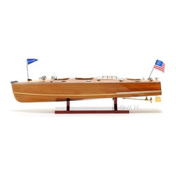 Old Modern Handicrafts - Old Modern Handicraft Christ Craft Triple Cockpit Medium - Chris Crafts were first produce in the 1910's as high end powerboats. Throughout the years, Chris Craft became the synonymous boating. It is available as a FULLY ASSEMBLED model ready to be proudly display. Master craftsmen handcraft these highly detailed wood models from scratch using historical photographs, drawings and original plan. They are built to scale with high-grade wood such as: western red cedar, rosewood, and mahogany. They are 100% hand built individually using plank-on-frame construction method and are similar to the building of actual ships. Each model requires hundreds of hours to finish and must go through a demanding quality control process before leaving the workshop. This Chris Craft Triple Cockpit has hand stitched brown leather interior. The gauges have detailed lettering to show a realistic look. All the ornaments on the ship are made out metal to make the boat really stand out.There are two flags that represent the Chris Craft heritage. This model comes with a wooden stand. It'll make a perfect gift for home or office decorator, boat enthusiast, or passionate collector.