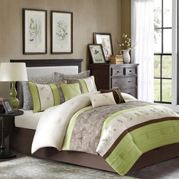 Home Essence - Home Essence Encanto 7 Piece Comforter Set - The Encanto bedding collection provides an elegant look to your home. The top of the comforter is a mix of light green, chocolate brown, and ivory with piecing details while the brown section has an embroidered floral pattern in ivory. It is pieced with another simple ivory section with a brown floral motif with a touch of orange. The reverse is a solid brown color. The set includes a solid brown bedskirt made from polyester brushed microfiber for easy care. The decorative pillows come in a combination of stripes and embroidery to pull this whole set together. Polyester jacq pieced solid microfiber with embroidery face, 75 gsm micro fiber solid back, 170gsm poly fill;Sham: 100% polyester jacq pieced solid microfiber with embroidery face, 75 gsm micro fiber solid back, envelop; Bedskirt: micro fiber drop and non woven platform; Pillow : 100% poly cover, 100% poly fill, Pillow case : printed 75gsm microfiber.