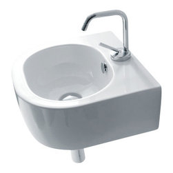 "WS Bath collections - Flo 3149 Ceramic Sink 15.7"" x 14.6"" - This little round basin is big on style. Whether wall hung or set in a counter, it brings a sleek, modern look to your WC."