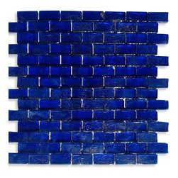 "GlassTileStore - Gaby Abyss Bricks Glass Tiles - Gaby Abyss Bricks Glass Tile             Add a happy bursts of color to any room with this beautiful glass tile. This colorful design will give your kitchen, bathroom or any decorated room a bright, fresh look.This material is plastic faced mounted up. See Installation tab for further installation information.           Chip Size: 1 5/8"" x 3/4""   Color: Iridescent Blue   Material: Glass   Finish: Polished    Sold by the Sheet - each sheet measures 12"" x 12"" (1 sq. ft.)   Thickness: 8mm            - Glass Tile -"