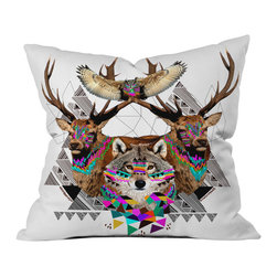DENY Designs - Kris Tate Forest Friends Outdoor Throw Pillow - Do you hear that noise? it's your outdoor area begging for a facelift and what better way to turn up the chic than with our outdoor throw pillow collection? Made from water and mildew proof woven polyester, our indoor/outdoor throw pillow is the perfect way to add some vibrance and character to your boring outdoor furniture while giving the rain a run for its money.