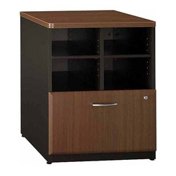 Bush - Storage Cabinet Unit w Shelves and File Drawe - Originally known as the Advantage collection. Provides open and concealed storage. Lateral file drawer holds letter, legal, or A4 files. Sturdy 1 in.-thick top surface. Wire management features. Durable PVC edge banding stands up to bumps and collisions. Levelers adjust for stability on uneven floors. 23.543 in. W x 23.346 in. D x 29.764 in. H