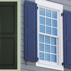 Architectural Raised Panel Shutter - An ideal enhancement to Federal Manor homes, traditional colonial homes, quaint craft cottages and other architectural style homes.  Raised panel shutters are built to your specifications, so youhave multiple choices.  Each shutter is meticulously hand-assembled to ensure optimal symmetry and stylish integrity.  A two-part acrylic urthethane finish - with forty standard colors - and hardware forged from stainless steel , deliver shutters that are maintenance free for years to come.  See sample pricing and call your local store for pricing help. Sold in pairs.