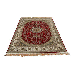 Esfahan Oriental Rug, 4'X6' Hand Knotted Silken 250 Kpsi Red & Ivory Rug SH8786 - Hand Knotted Silk Rugs are second to none when it comes to quality.  Silk fibers are much thinner allowing our weavers to maximum the knots per square inch in a rug.  This will escalate the labor as well as material in the rug.  These traits along with the cost of silk make hand knotted silk rugs some of the most expensive rugs in the world.