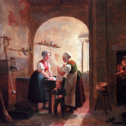 "Constantin Fidele Coene Washerwomen In A Sunlit Basement Print - 16"" x 20"" Constantin Fidele Coene Washerwomen In A Sunlit Basement With A Young Boy Blowing Bubbles premium archival print reproduced to meet museum quality standards. Our museum quality archival prints are produced using high-precision print technology for a more accurate reproduction printed on high quality, heavyweight matte presentation paper with fade-resistant, archival inks. Our progressive business model allows us to offer works of art to you at the best wholesale pricing, significantly less than art gallery prices, affordable to all. This line of artwork is produced with extra white border space (if you choose to have it framed, for your framer to work with to frame properly or utilize a larger mat and/or frame).  We present a comprehensive collection of exceptional art reproductions byConstantin Fidele Coene."