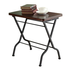 Monarch Specialties - Monarch Specialties 23 x 13 Rectangular Folding Accent Table in Cherry, Charcoal - This cherry finished folding accent table is both stylish and multi-functional. It features a spacious top where you can place your coffee cup as you read the latest novel yet it can be folded away for practicality. With its sturdy charcoal black metal base, this piece is one of a kind. What's included: Accent Table (1).