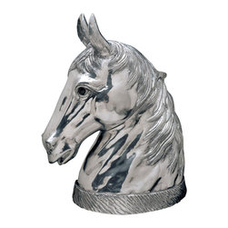 Arthur Court - Horse Wine Cooler - This majestic horse head handcrafted from cast aluminum is not just a fabulous accent piece for the bar or dining room. Lift up that head at the hinged neck, and it opens to a hollow body perfect for housing ice and chilling wine. Set this winner out at your next party and he might just steal the show.