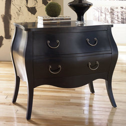 "Hammary - Hidden Treasures Black Bombe Chest - Hammary's Hidden Treasures collection is a fine assortment of unique accent pieces inspired by some of the greatest designs the world over. Each selection is rich in Old World icons and traditions. Every piece in this collection is crafted with the upmost attention to fine details. Each item is a work of art from brass nailhead trim and exquisite hand-painting to elegant shaping and decorative trim. Wide varieties of materials are used to create a perfect look and fine quality which includes exotic woods, leather, and stone to raffia and glass. The wide variety of finishes, hardware, beautiful carvings and other final touches offer unmatched versatility for any room in your home. Hidden Treasures features cocktail tables, occasional and accent pieces, trunks, chests, consoles, wine racks, desks, entertainment units and interesting storage pieces. Place one in a comfortable reading nook. . . in the family room for flair and variety. . . in the foyer for a welcome look. . . in a bedroom for a cozy style. . . or in the office for function and versatility. The pieces in this collection mix beautifully with any decorating style and will easily become the focal point in any setting.; Hidden Treasures Collection; Finish:; Black painted finish; Poplar solids; Two drawers; Paper lined drawer bottoms; Bombe shape; Weight: 1 lbs.; Dimensions: 35. 75""W x 18. 5""D x 30""H"