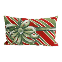 "Trans-Ocean - Gift Box Green Pillow - 12""X20"" - The highly detailed painterly effect is achieved by Liora Mannes patented Lamontage process which combines hand crafted art with cutting edge technology, and is only given further dimension by the shaped edge on this pillow.These pillows are made with 100% polyester microfiber for an extra soft hand, and a 100% Polyester Insert.Liora Manne's pillows are suitable for Indoors or Outdoors, are antimicrobial, have a removable cover with a zipper closure for easy-care, and are handwashable."