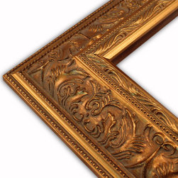 The Frame Guys - Wide Ornate Gold with Double Beaded Edge Picture Frame-Solid Wood, 10x10 - *Wide Ornate Gold with Double Beaded Edge Picture Frame-Solid Wood, 10x10