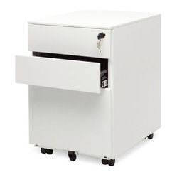 "Blu Dot - ""Blu Dot Filing Cabinet No. 1, White"" - ""Straighten up.  This modern file pedestal gets the job done.  A clean, powder coated steel exterior allows this unit to sit quietly in any environment, residential or commercial.  It's so unassuming we named it Filing Cabinet No. 1.  Locking file storage accommodates standard sized files.  Oh, and it has wheels, too."""