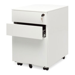 Blu Dot - Blu Dot Filing Cabinet No. 1, White - Straighten up. This modern file pedestal gets the job done. A clean, powder coated steel exterior allows this unit to sit quietly in any environment, residential or commercial. It's so unassuming we named it Filing Cabinet No. 1. Locking file storage accommodates standard sized files. Oh, and it has wheels, too.