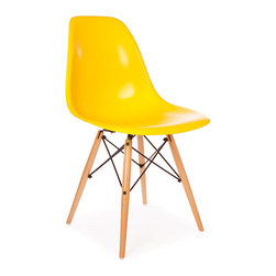 Vertigo Interiors - High Quality Eames Style Classic DSW Dowel Dining Lounge Side Chair, Yellow - Looking for that retro/modern look? Something with a range of colors and quirky styling, yet a classic, cultured look? Vertigo's fantastic reproduction Eames range constantly continues to grow in popularity and is just what you're looking for! This is the dowel leg Eiffel version, combining beautiful maple legs with sleek colorful side chair seat.