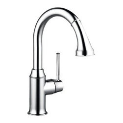"Hansgrohe - Hansgrohe 04216000 Chrome Talis C Talis C Pull-Down Prep Kitchen - Product Features:  All-brass faucet body and handle construction Fully covered under Hansgrohe s limited lifetime warranty Hansgrohe faucets are designed and engineered in Germany Superior finishing process - finishes will resist corrosion and tarnishing through everyday use Ergonomic pull-down with full and needle sprays enhances the faucets versatility Locking Spray Diverter Spout swivels 150-degrees providing greater access to more areas of the sink Spout design provides optimal room under the faucet for any size task M2 ceramic cartridge for a lifetime of smooth operation ADA compliant - complies with the standards set forth by the Americans with Disabilities Act for kitchen faucets Low lead compliant - meeting federal and state regulations for lead content  Product Specifications:  Overall Height: 13-5/8"" (measured from counter top to highest part of faucet) Spout Height: 8-1/4"" (measured from counter top to spout outlet) Spout Reach: 7-5/8"" (measured from center of faucet base to center of spout outlet) Number of Holes Required for Installation: 1 Flow Rate: 2.2 GPM (gallons-per-minute) Maximum Deck Thickness: 2-3/8"" Designed for use with standard U.S. plumbing connections All hardware needed for mounting is included with faucet  Product Technologies and Benefits:  MagFit Magnetic Spray Head Docking:This innovative feature from Hansgrohe integrates a magnet into the docking connection of your pullout faucet spray head. When not in use it securely holds the faucet head in place, and with a light tug the faucet head is free and completely versatile once again. This solves the issue with the classic pullout style faucets of sagging"