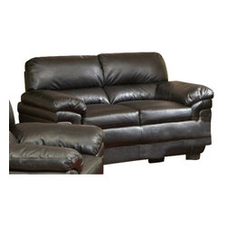 "Coaster - Love Seat (Black) By Coaster - Dimension: 67""W x 36""D x 39""H Seat Height: 21.5"" Seat Depth: 21"" Finish: Brown Material: Leather-Like Fabric Loveseat with Split Back in Dark Brown Leather-Like Fabric Create a casual yet sophisticated living room with this generously cushioned loveseat. Sleek leather-like fabric is durable to last for years without losing appeal. High split back cushions and wide double pillow arms is luxuriously comfortable and long lasting. Exposed block feet and high resilience foam seating ensure this sofa is built to bring you long-lasting support. Matching sofa chair and sofa are available separately."