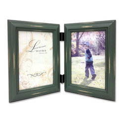 Lawrence Frames - Weathered Green 4x6 Hinged Double - Beautiful distressed Vintage Green wood picture frame.  Hand finished so that every piece is unique and different.  Designer wood picture frame has a casual but elegant decorative look.  High quality Vintage Green velvet backing.  Frame can stand vertically or horizontally and comes with hangers for horizontal or vertical wall mounting.   Individually boxed.