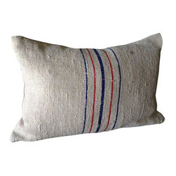 """Pre-owned Vintage Grain Sack Pillow - Vintage linen grain sack fabric from Eastern Europe makes this pillow a beautiful modern classic. New linen (pale grey) back with vintage grain sack front with blue and red stripes. 16‰Űť x 10"""" pillow with zip closure. New down/feather pillow insert included. UPS    This classic pillow will suit any interior. The fabric is incredibly sturdy, yet very soft to the touch. Please note that this pillow is made from vintage fabric. Small imperfections in the fabric (tiny spots or fading) are considered part of its history and will not affect the quality or durability of the product.    Hand wash cold with mild soap and water, dry flat, warm iron, or dry clean.    Size 16‰Űť x 10"""", down feather insert included     Listing is for one pillow."""