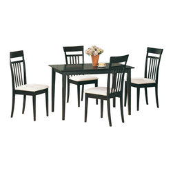 Coaster - Coaster Andrews 5 Piece Upholstered Chair Dining Set in Cappuccino - Coaster - Dining Sets - 4430 - Coaster is one of the innovators of Ready to Assemble furniture. It has grown to be a name customers can trust when it comes to quality furniture for the right price. This beautiful and streamlined cappuccino set comes with four high-backed chairs for the ultimate in comfort. This Coaster dining set is trendy and convenient for both entertaining and family dinners.