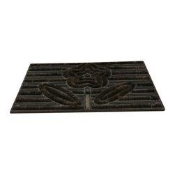 """AJcm-1111 - Cast Iron Flower Door Mat - Cast iron flower door mat. Measures 15"""" x 22"""". No assembly required."""