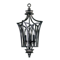 Quorum International - Quorum International Q6819-4 Wrought Iron Four Light Foyer Pendant from the Anat - While each member of the strikingly diverse Anatola family projects its own distinct character, the collection itself is tied together with the imaginative design motif of a simple elliptical form arched to a point at each end. Executed gracefully with our Old World finish, the forms become sculptures – arabesques of metal set with lamps or bowls of a cream Scavo glass with fluted bobeches and finials. Chandeliers, pendants, bowls, shades, and entryway fixtures with caged candle-style lamps throw magical shadows from the lacework of iron.Features: