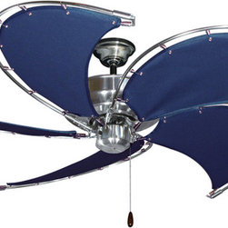 """Product Ideas - Raindance Nautical Ceiling Fan in Brushed Steel with 52"""" Spring Frame Blades in Blue"""