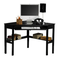 Holly & Martin - Alexander Corner Computer Desk in Black - Computer desk has a black finish that will easily assimilate into most d̩cor. Use it in your home office or child's bedroom. It fits into a corner to take up less floor space, holds your computer and has two bookshelves underneath. Painted black finish. Slide out keyboard tray. Cord management. Assembly required. 48 in. x 32.25 in. x 30 in. HNo house is complete in the modern era without a convenient home office. Why settle for a solution that clutters your home when this contemporary black corner desk can save you space and add style? On the top, a circular cord keeper is recessed into the surface near the corner to guide and organize all of your computer cords. The front drawer folds down to reveal a retractable tray that allows you to store your keyboard and mouse dust free and out of sight. Approximately 14 in above the floor, an 8 in deep shelf lines the back edge of the desk along the wall for easily accessible storage of books, disks or other computer gadgets. Both a stylish and useful piece of furniture, this corner computer desk is a must have for every home.