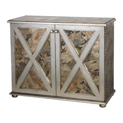 Worlds Away - Worlds Away Reverse Mirror Chest In Silver CLAYBORN S - Reversed antique mirror crosshatch 2-door cabinet with one interior shelf and champagne silver leaf detailing.