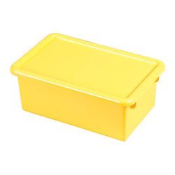Ecr4kids - Ecr4Kids Heavy Duty Plastic Stack And Store Tub With Lid Yellow, 12 Pack - Fits most standard cubby units that are 14D or more. Heavy-duty polypropylene plastic with rounded edges for safety. Includes matching color lid. Available in RedRD, BlueBL, YellowYE, GreenGN or ClearCL.
