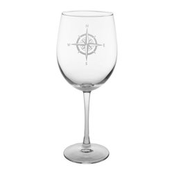 Rolf Glass - Compass Rose Balloon Wine Glass 19oz, Set of 4, Clear, 9.25x3, All-Purpose - No matter what direction you are headed, you need a steady compass to guide you home. The Compass Rose collection helps you stay the course through calm seas or squalls. This classic nod to navigation is the perfect edition to any elegant evening. Whether you fancy yourself Captain Stubing or Captain Jack, your designer intuition will always point True North.  Made in USA.  Set of 4