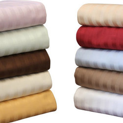 """Bed Linens - Egyptian Cotton 650 Thread Count Stripe Sheet Sets Queen Burgundy - Fall asleep on a bed of luxury! Experience true 100% Egyptian Cotton luxury when you sleep on these 650 Thread Count sheets.  An affordable luxury that drapes beautifully on the bed. These 650 thread count sheets of premium long-staple cotton are """"sateen"""" because they are woven to display a lustrous sheen that resembles satin."""