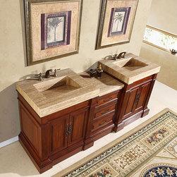Silkroad Exclusive Travertine Top 83-inch Double Sink Vanity Cabinet -
