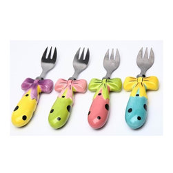 ATD - 3 1/8 Inch Yellow, Green, Pink and Blue Dilly Dots Forks Set - This gorgeous 3 1/8 Inch Yellow, Green, Pink and Blue Dilly Dots Forks Set has the finest details and highest quality you will find anywhere! 3 1/8 Inch Yellow, Green, Pink and Blue Dilly Dots Forks Set is truly remarkable.