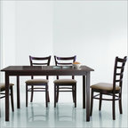 """Wholesale Interiors - Baxton Studio Keitaro 5 Piece Dining Set - The Keitaro Dining Set's small size is perfect for apartments or breakfast nooks and when paired with the contemporary chairs, an elegant yet simple dining solution is the result. Sturdy wood construction on both the table and chairs is finished with a beautiful rich dark brown stain and veneer. Comfortable foam cushioning and soft taupe microfiber on the chairs completes your new dining area. Features: -Set includes 1 dining table and 4 chairs. -Dark Brown finish. -Rubber wood and veneer construction. -Modern style. -Taupe microfiber seats. -Polyurethane foam seat cushioning. Dimensions: -Overall Table Dimensions: 48""""W x 30""""D x 29"""" H. -Overall Chair Dimensions: 16""""W x 17""""D x 36"""" H. -Seat Height: 17""""."""