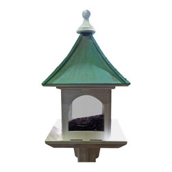 Extra Large Post-Mount Bird Feeder in Vinyl/Copper, Patina Copper - Copper Roof Bird Feeder in vinyl/PVC features an extra large hopper that holds a whopping 20 lbs. of seed, our biggest feeder ever!