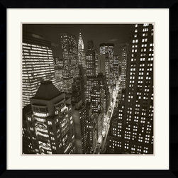 Amanti Art - East 40th Street, NY 2006 Framed Print by Michael Kenna - Are you in a New York state of mind? Then bring a slice of its brilliant skyline to your decor. This powerful black-and-white cityscape by photographer Michael Kenna adds impact to your favorite setting.