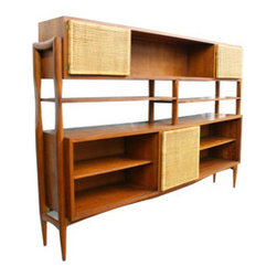 Vintage Wood & Reed Sideboard - We haven't seen a sideboard like this in quite some time. Coming into your home straight from the 1950s, the vintage sideboard is made from wood, woven reeds, and glass, and offers your home plenty of mid-century modern style and storage.