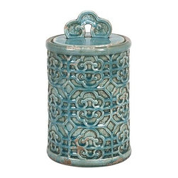 iMax - Kendall Teal Canister- Medium - Bring a taste of the orient to your home. This medium Kendall teal canister's vibrant color can brighten your home.