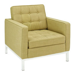 Swanky Armchair in Green - Kick back and relax in urban chic style with this Swanky Armchair. Featuring a plush tufted seat and a sleek, modern shape, this chair is perfect for creating a hip and stylish pad.
