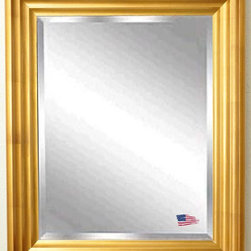 Rayne Mirrors - American Made Gold Steps Beveled Wall Mirror - A dazzling frame in antique gold finish gives this wall mirror the look of a hand-carved piece. Its versatile waved design compliments both casual and formal style rooms.  Rayne's American Made standard of quality includes; metal reinforced frame corner  support, both vertical and horizontal hanging hardware installed and a manufacturers warranty.
